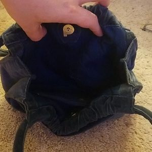 Bags - Dark navy blue velvet purse with magnetic clasp